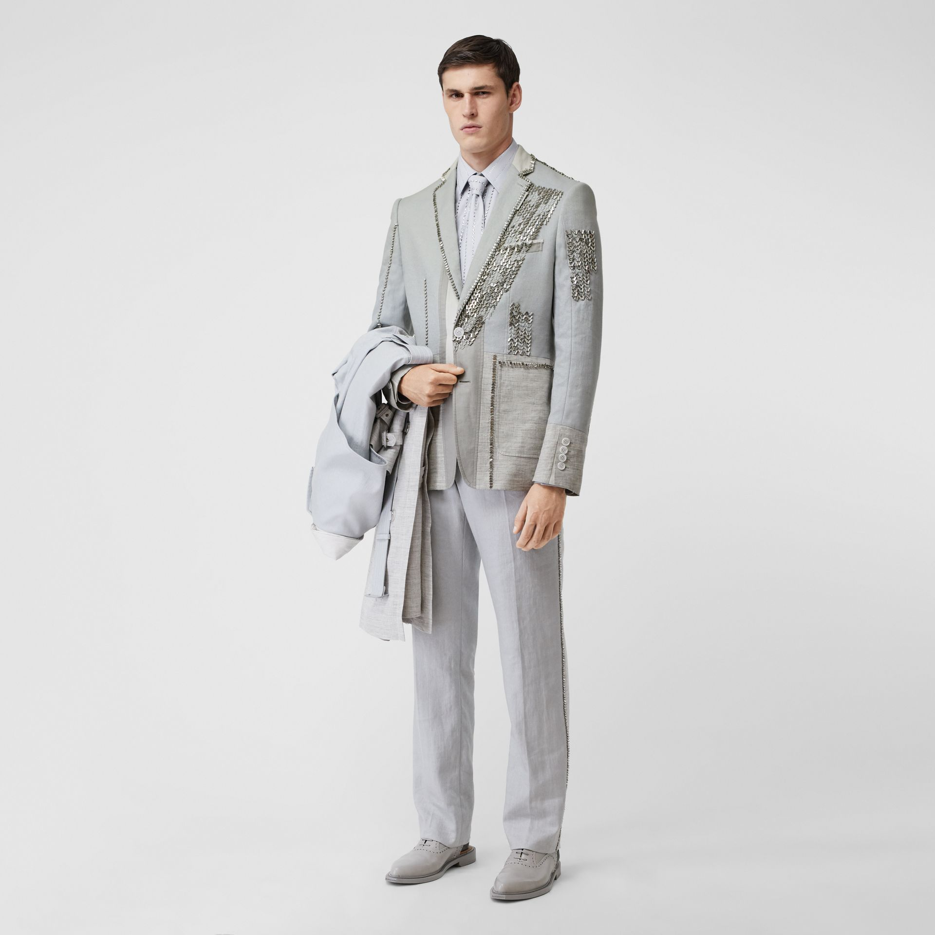 English Fit Crystal Embroidered Technical Linen Jacket in Light Pebble Grey | Burberry Canada - gallery image 5