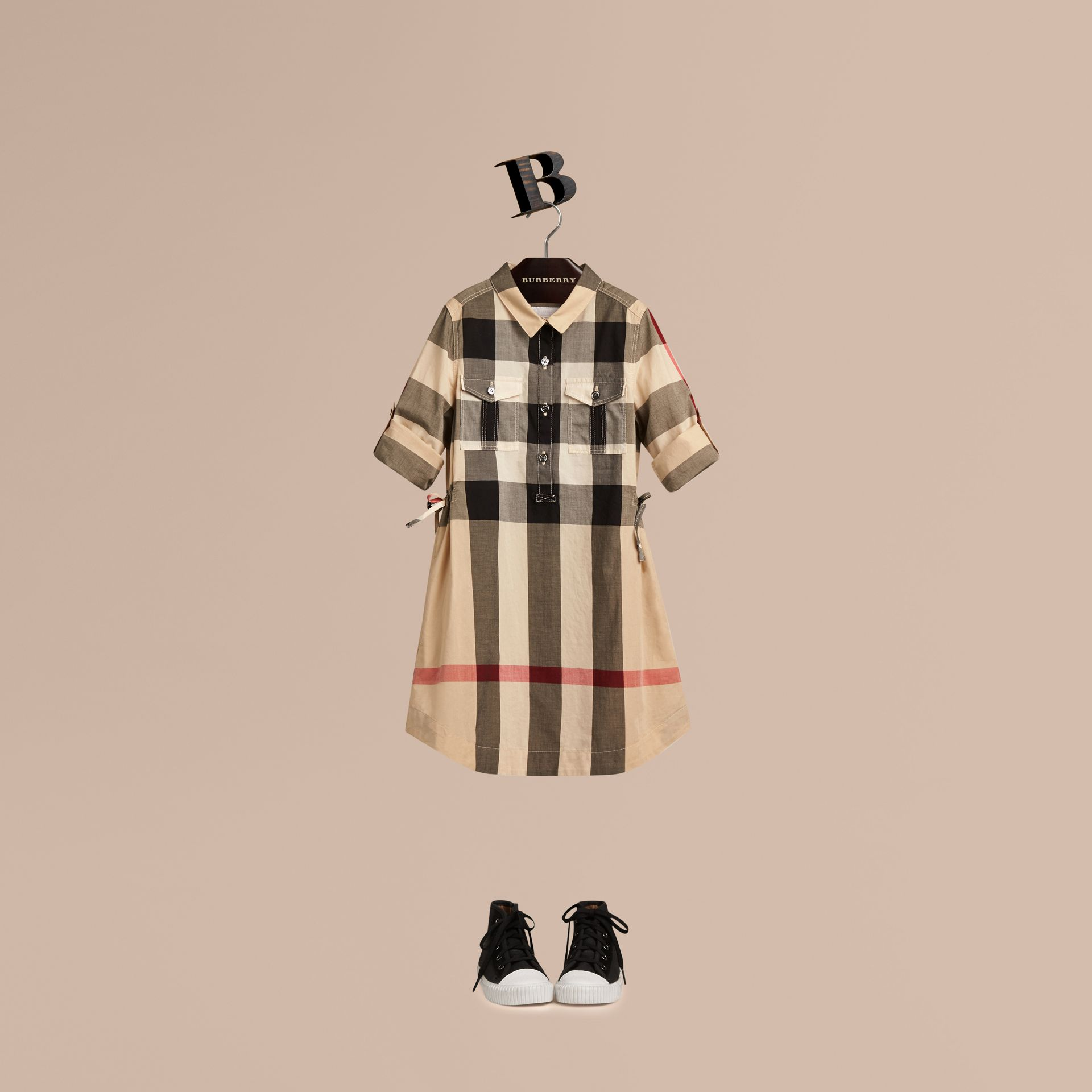 Check Cotton Shirt Dress - gallery image 1