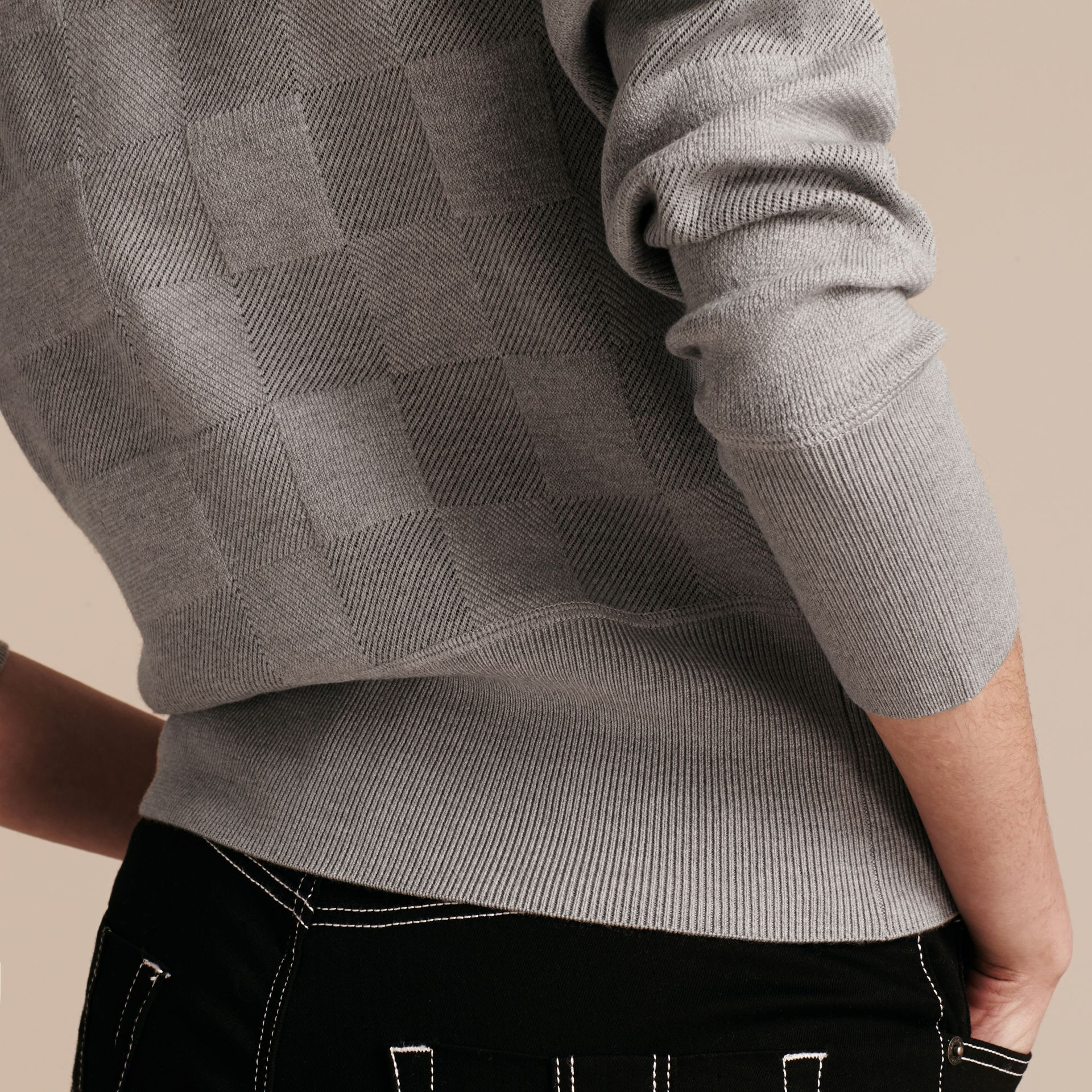 Check Knit Wool Blend Sweater in Mid Grey Melange - Women | Burberry United Kingdom - gallery image 3