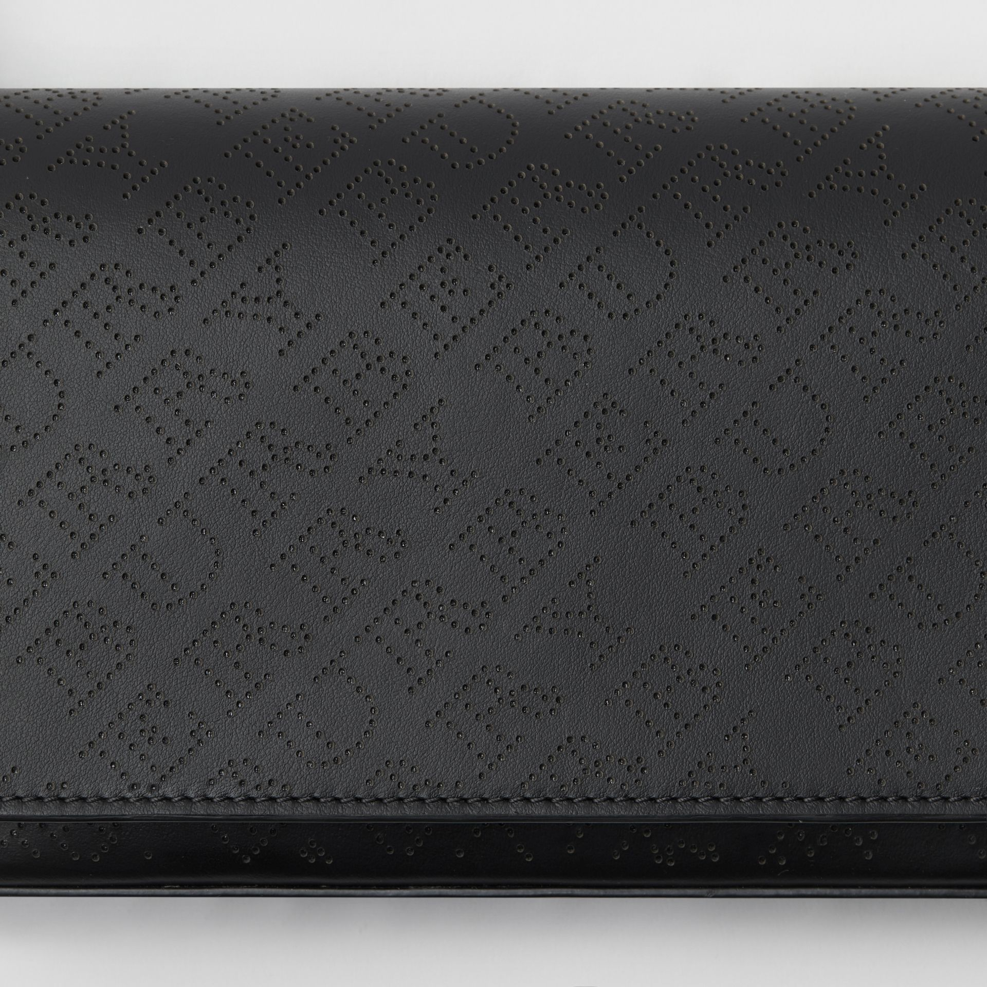 Perforated Logo Leather Wallet with Detachable Strap in Black - Women | Burberry United States - gallery image 1