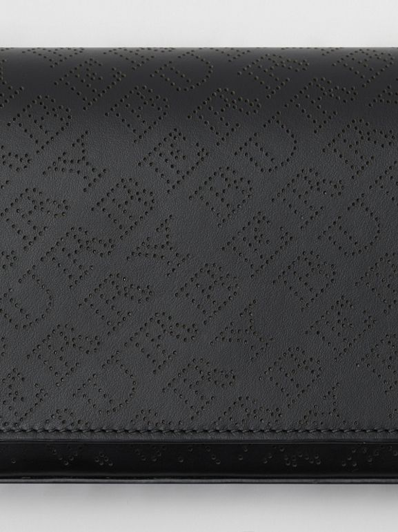 Perforated Logo Leather Wallet with Detachable Strap in Black - Women | Burberry - cell image 1