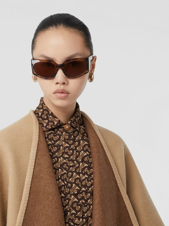 Check Trim Wool Cashmere Cape in Archive Beige - Women | Burberry - cell image 1