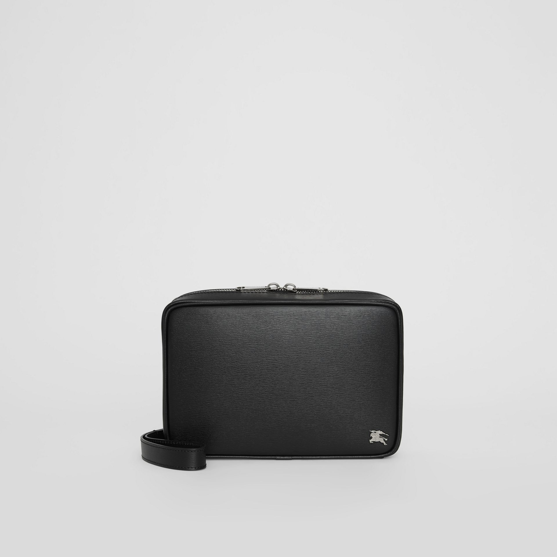 London Leather Travel Pouch in Black - Men | Burberry United States - gallery image 0