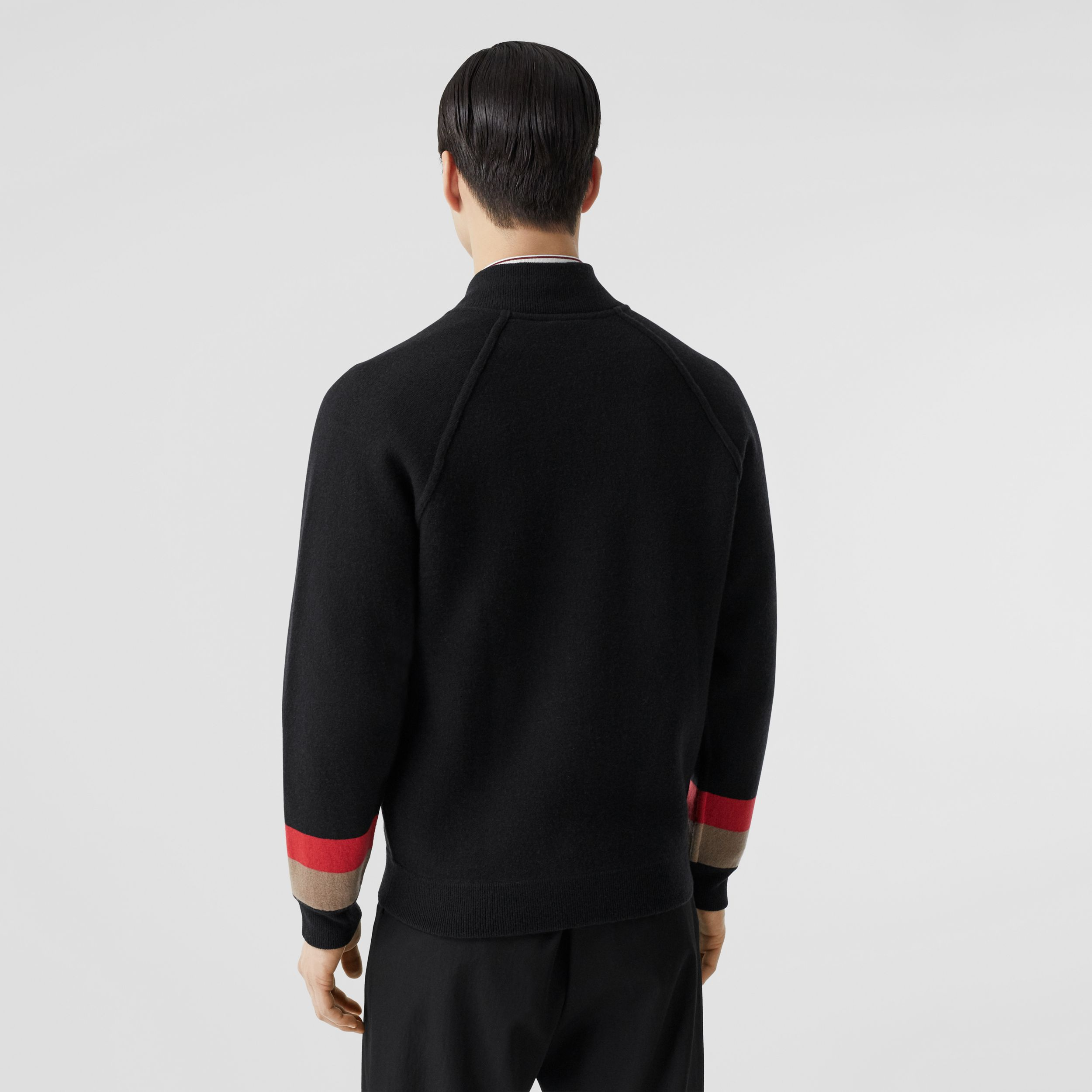 Double-faced Wool Cashmere Blend Bomber Jacket in Black - Men | Burberry - 3