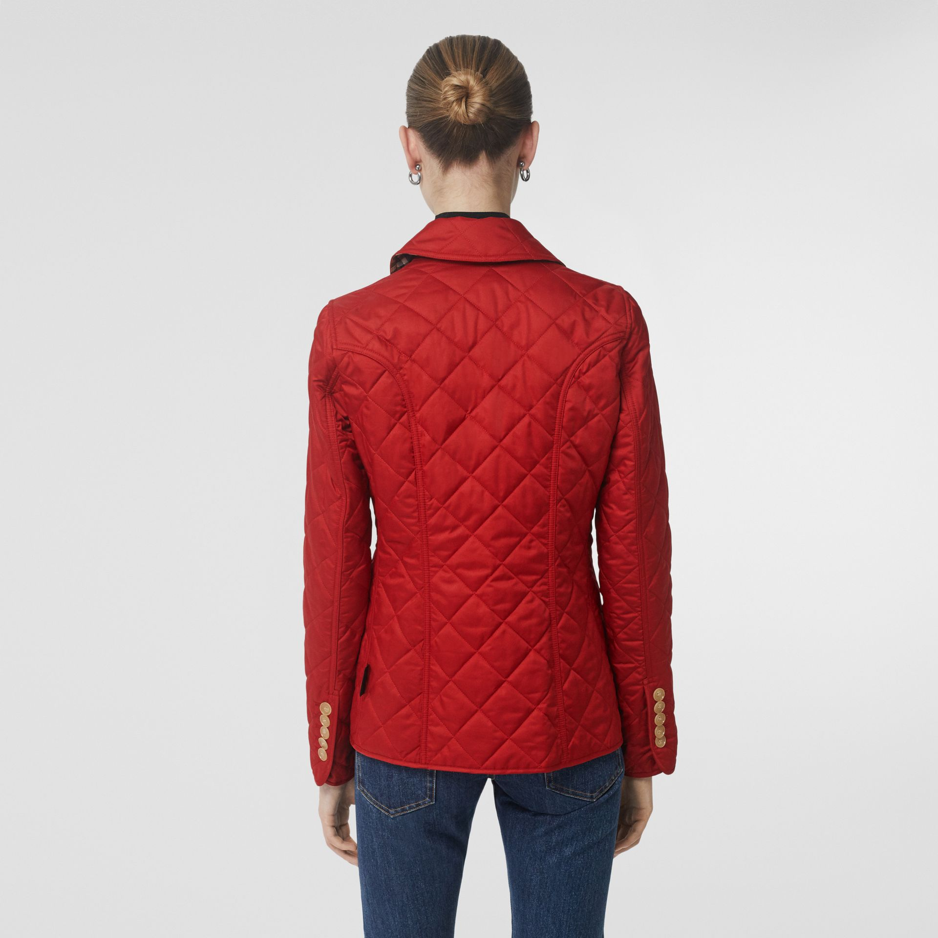 Diamond Quilted Jacket in Military Red - Women | Burberry United Kingdom - gallery image 2