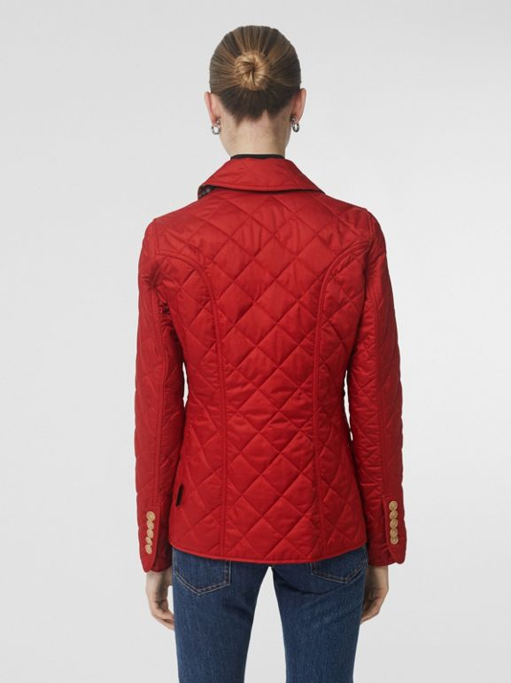 Diamond Quilted Jacket in Military Red - Women | Burberry United States - cell image 1