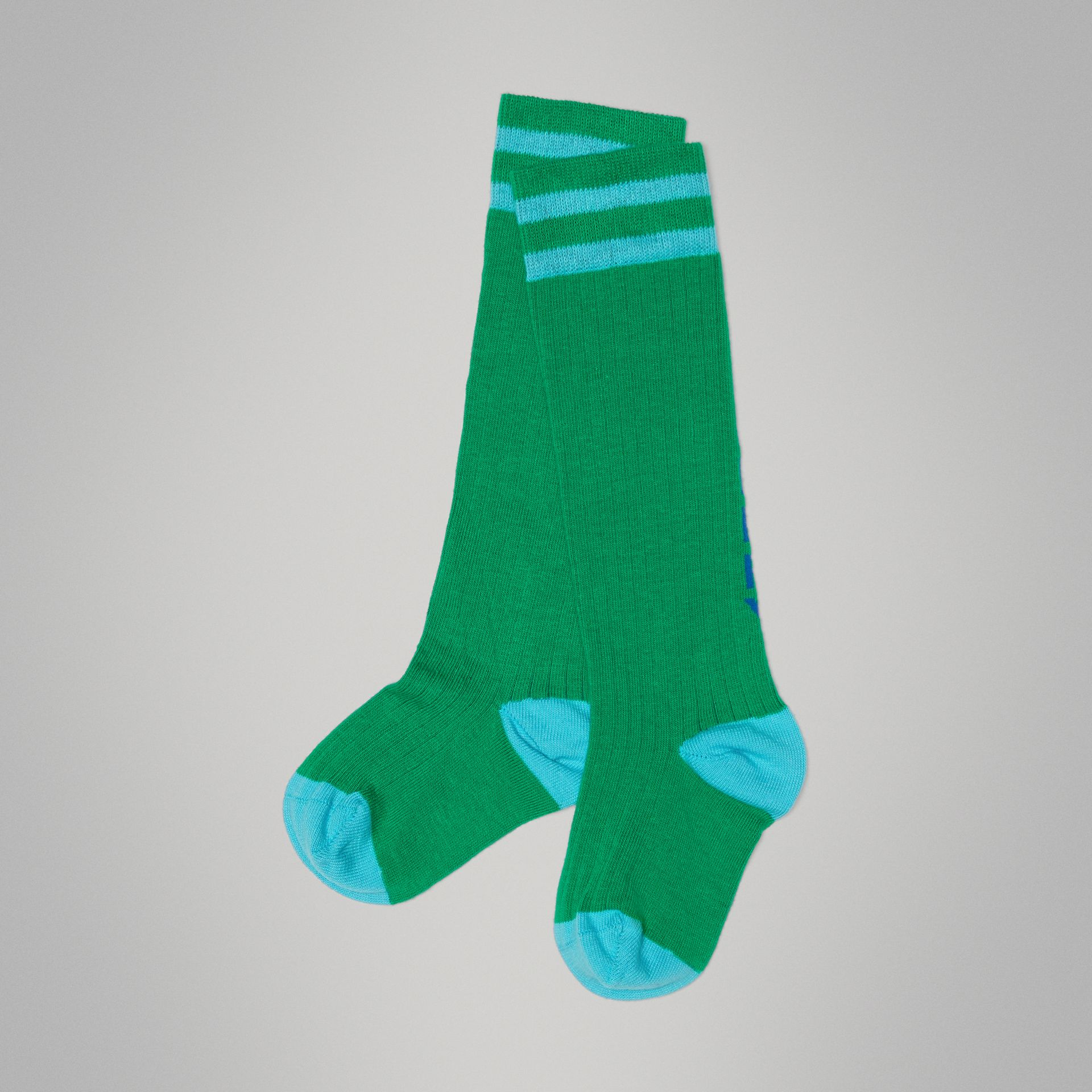 Logo Striped Cotton Blend Socks in Grass Green - Children | Burberry - gallery image 0