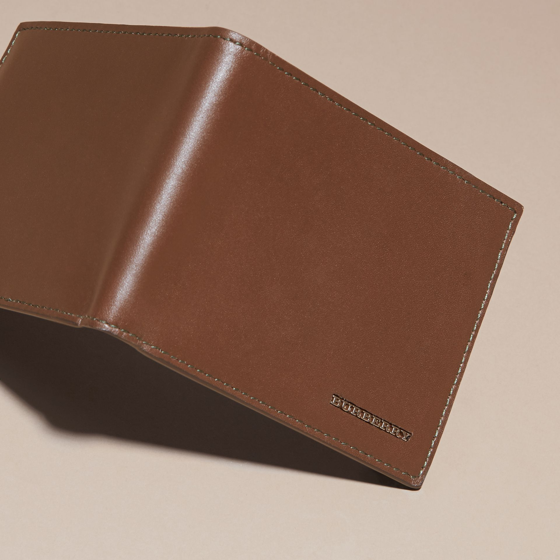 Sepia brown Smooth Leather Folding Wallet with Printed Lining Sepia Brown - gallery image 3