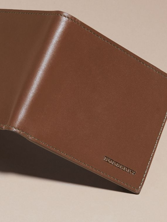 Sepia brown Smooth Leather Folding Wallet with Printed Lining Sepia Brown - cell image 2
