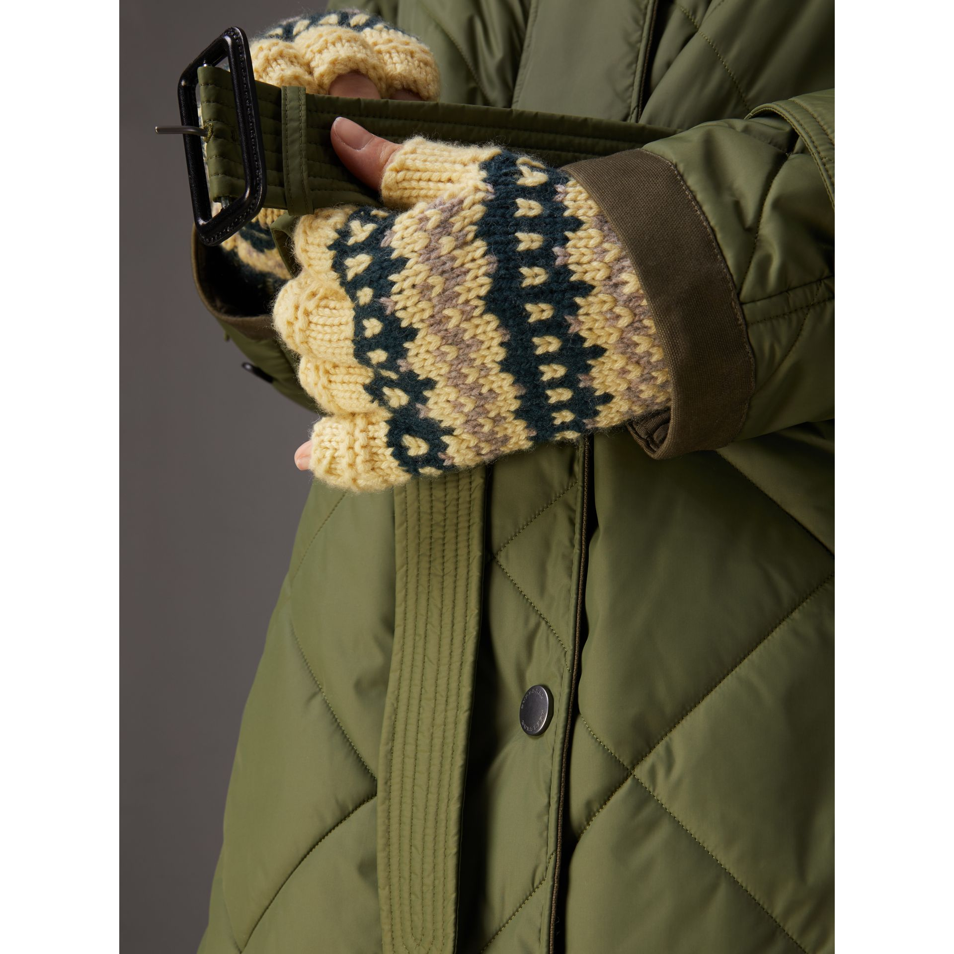 Packaway Hood Diamond Quilted Coat in Olive Green - Women | Burberry United Kingdom - gallery image 5