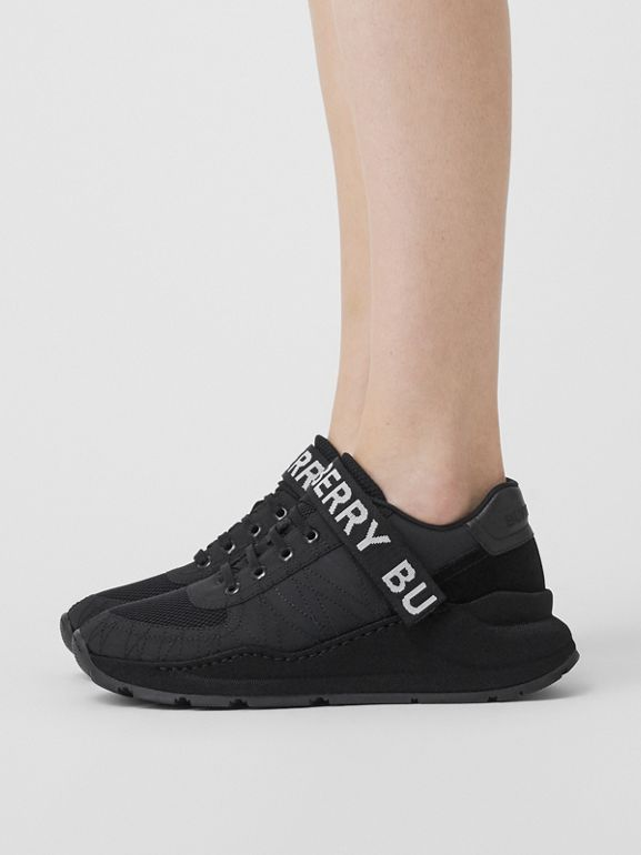 Logo Detail Leather, Nubuck and Mesh Sneakers in Black - Women | Burberry - cell image 1