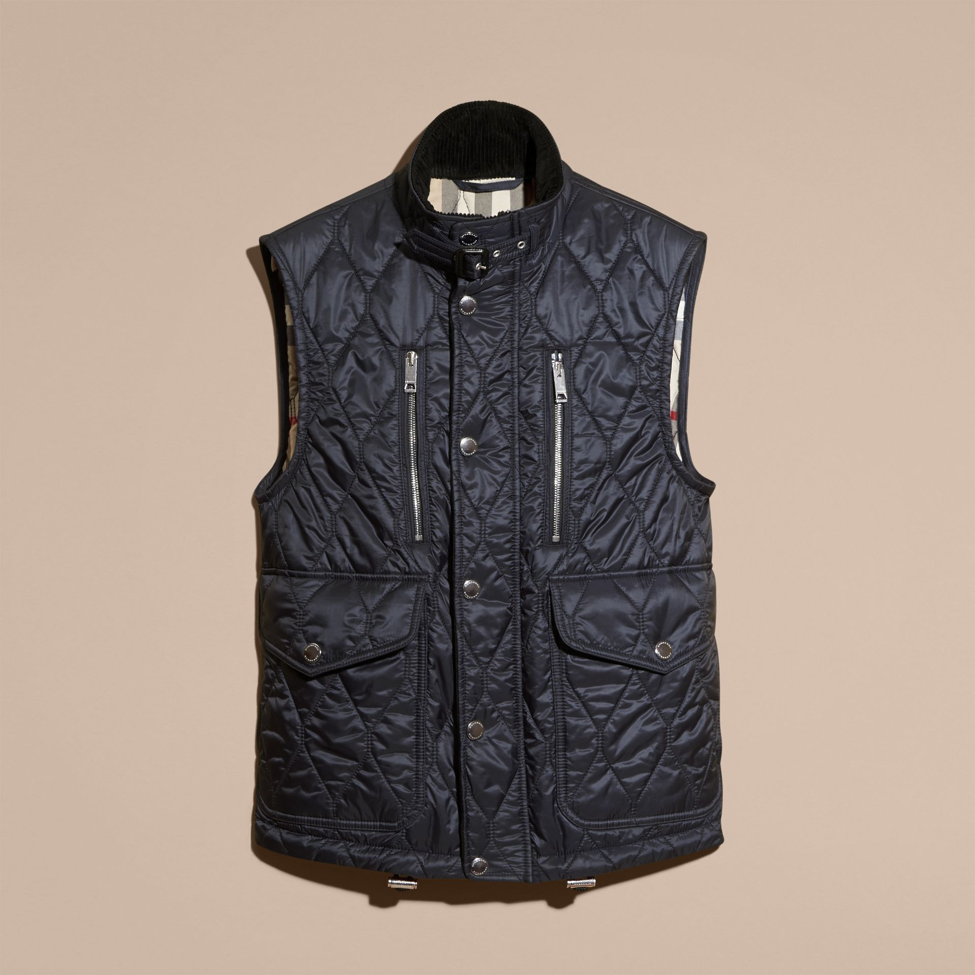 Navy Multi-Pocket Diamond Quilted Gilet Navy - gallery image 4