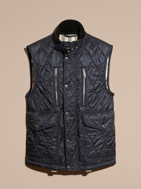 Navy Multi-Pocket Diamond Quilted Gilet Navy - cell image 3