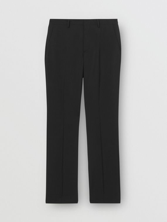 Soho Fit Bullion Stripe Wool Twill Tailored Trousers in Black