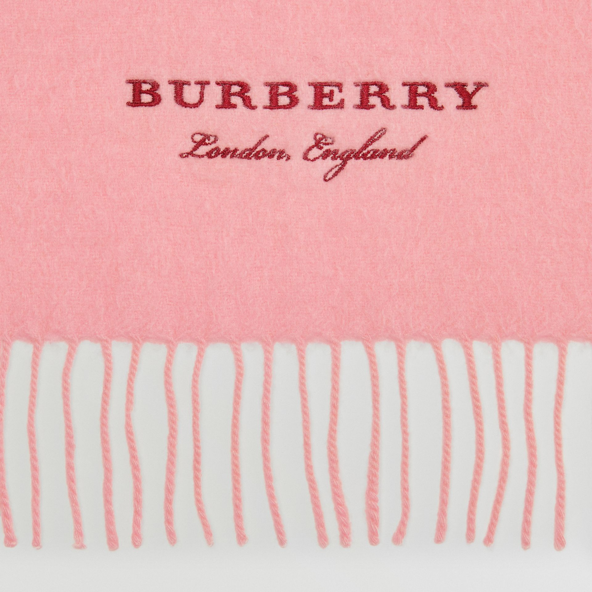Embroidered Cashmere Fleece Scarf in Pale Rose | Burberry - gallery image 1
