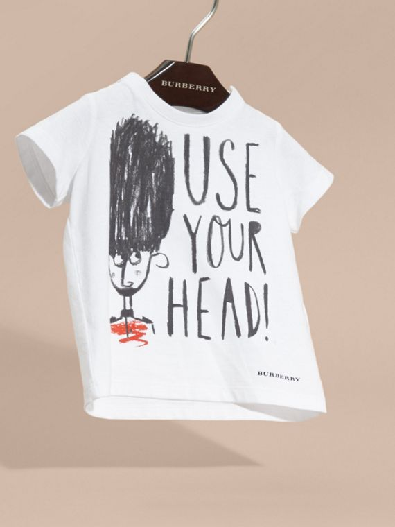 White Use Your Head Graphic Cotton T-Shirt - cell image 2