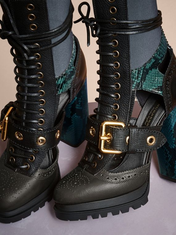 Leather and Snakeskin Cut-out Platform Boots Teal Green - cell image 2