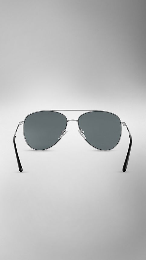 Silver Check Arm Aviator Sunglasses - Image 3