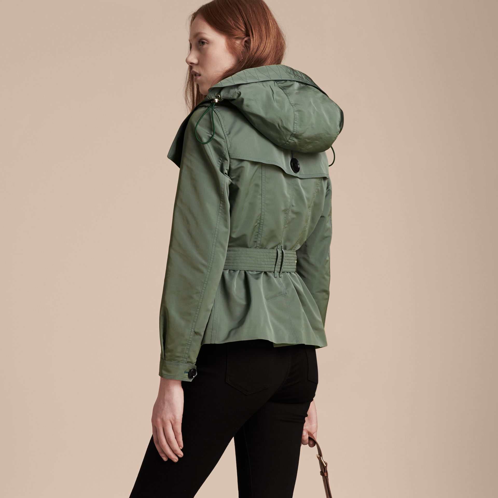 Eucalyptus green Showerproof Taffeta Trench Jacket with Detachable Hood Eucalyptus Green - gallery image 3