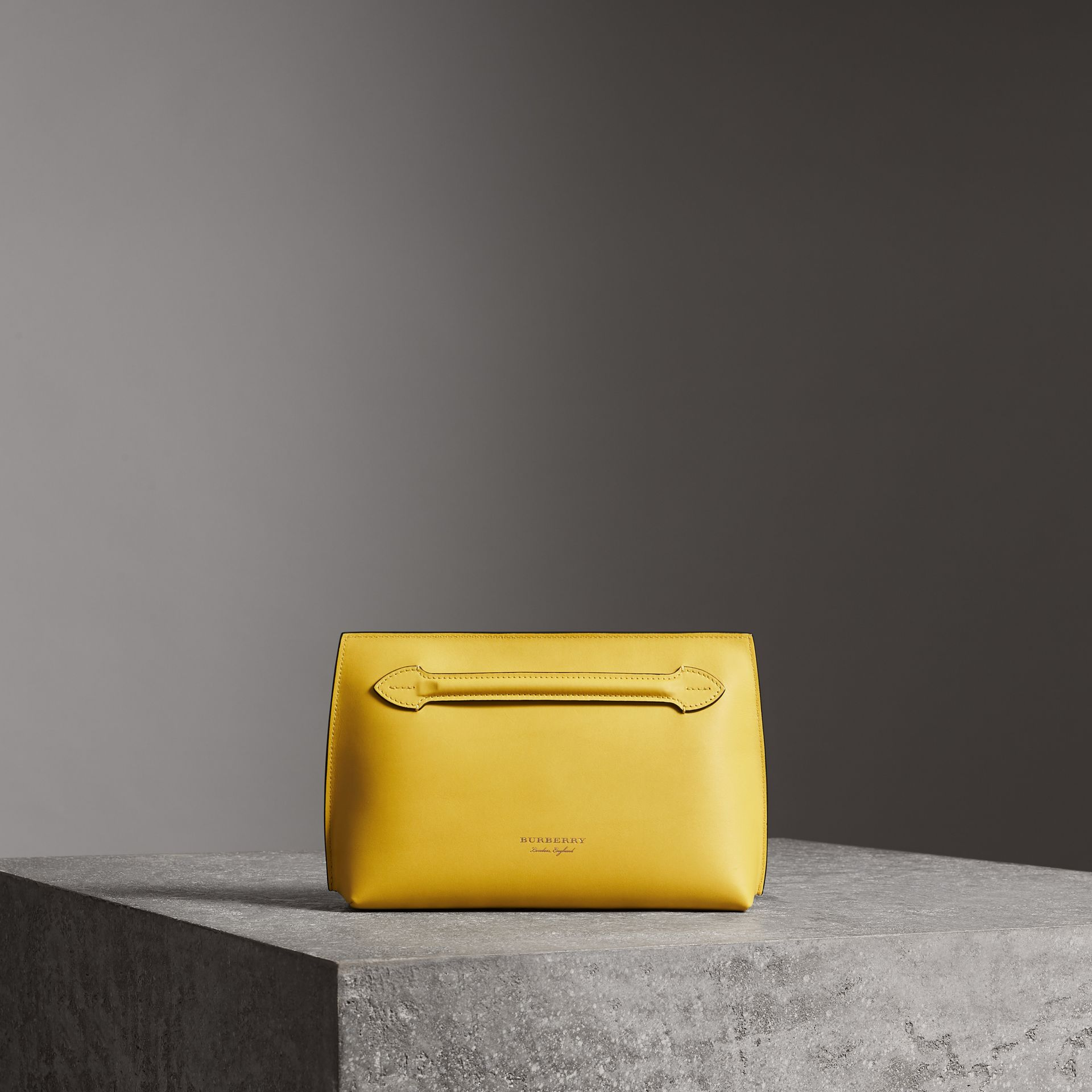 Leather Wristlet Clutch in Bright Larch Yellow - Women | Burberry United Kingdom - gallery image 0
