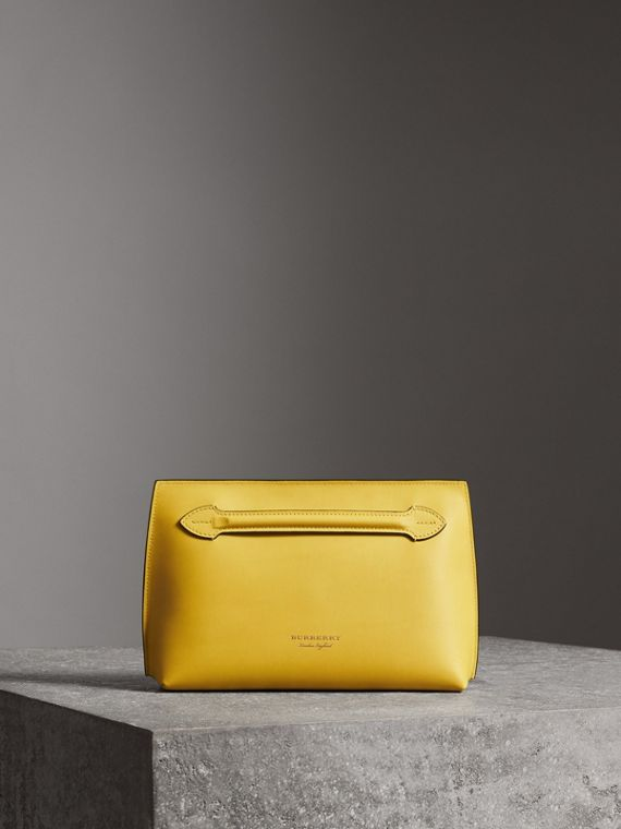 Leather Wristlet Clutch in Bright Larch Yellow