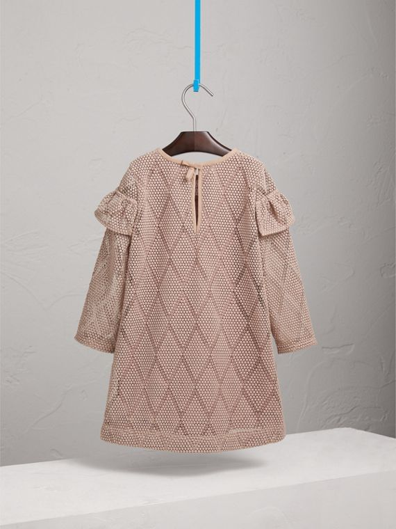 Ruffle Detail Diamond Macramé Lace A-line Dress in Pale Ash Rose - Girl | Burberry United States - cell image 3