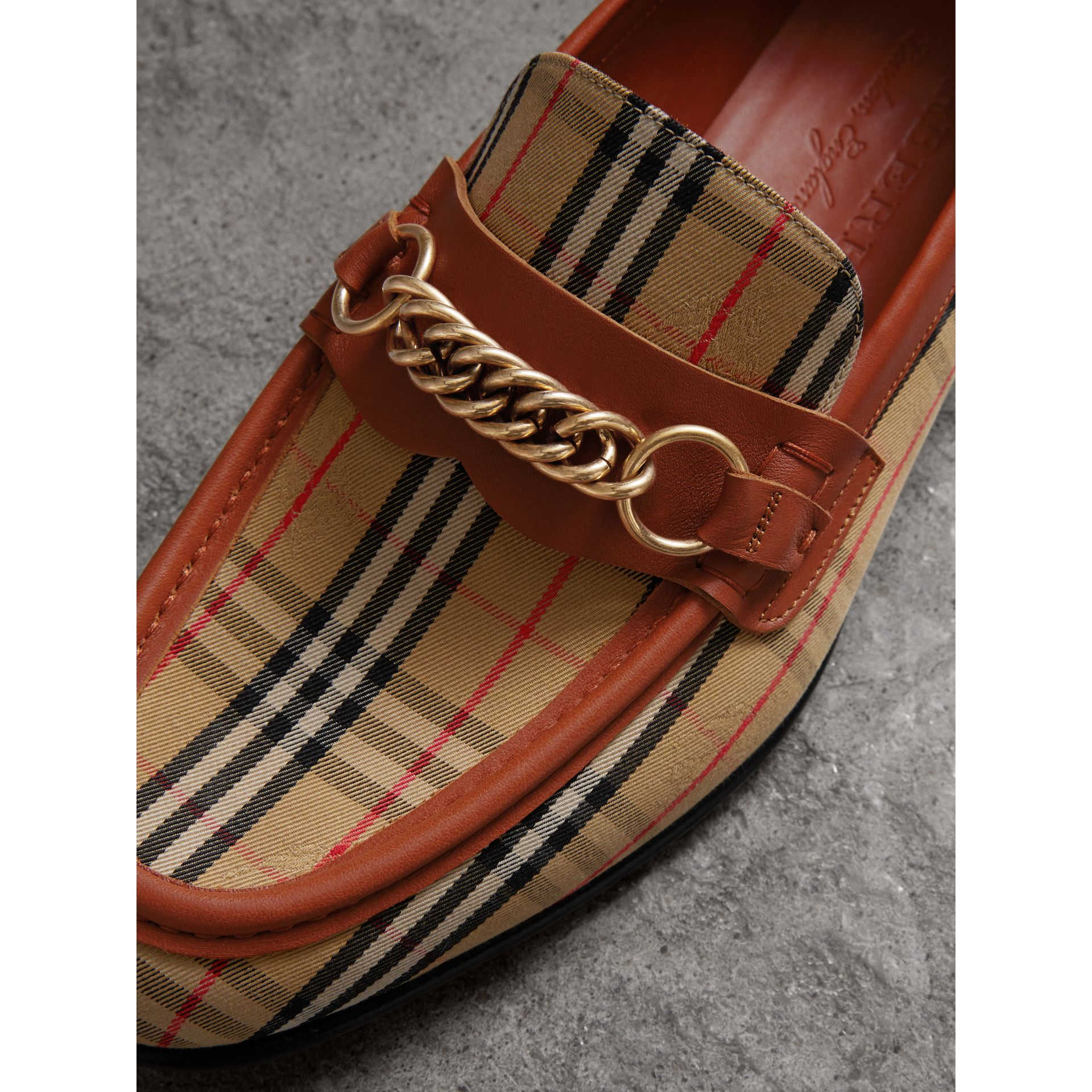 The 1983 Check Link Loafer in Brick Red | Burberry - gallery image 1