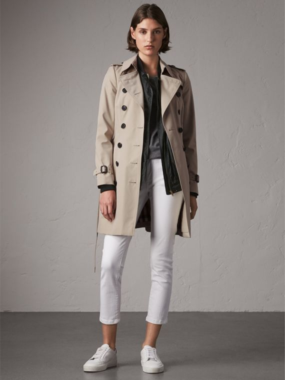 The Chelsea – Mid-length Heritage Trench Coat in Stone