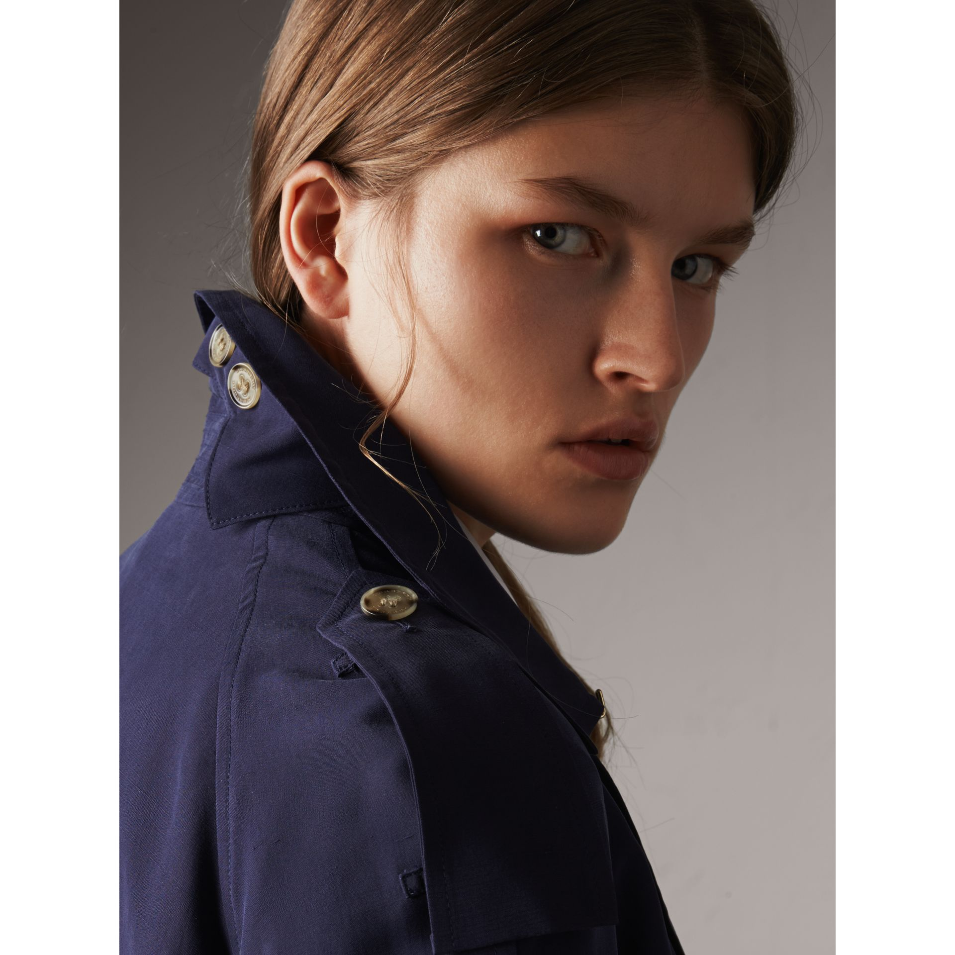 Silk Wrap Trench Jacket in Navy - Women | Burberry - gallery image 6