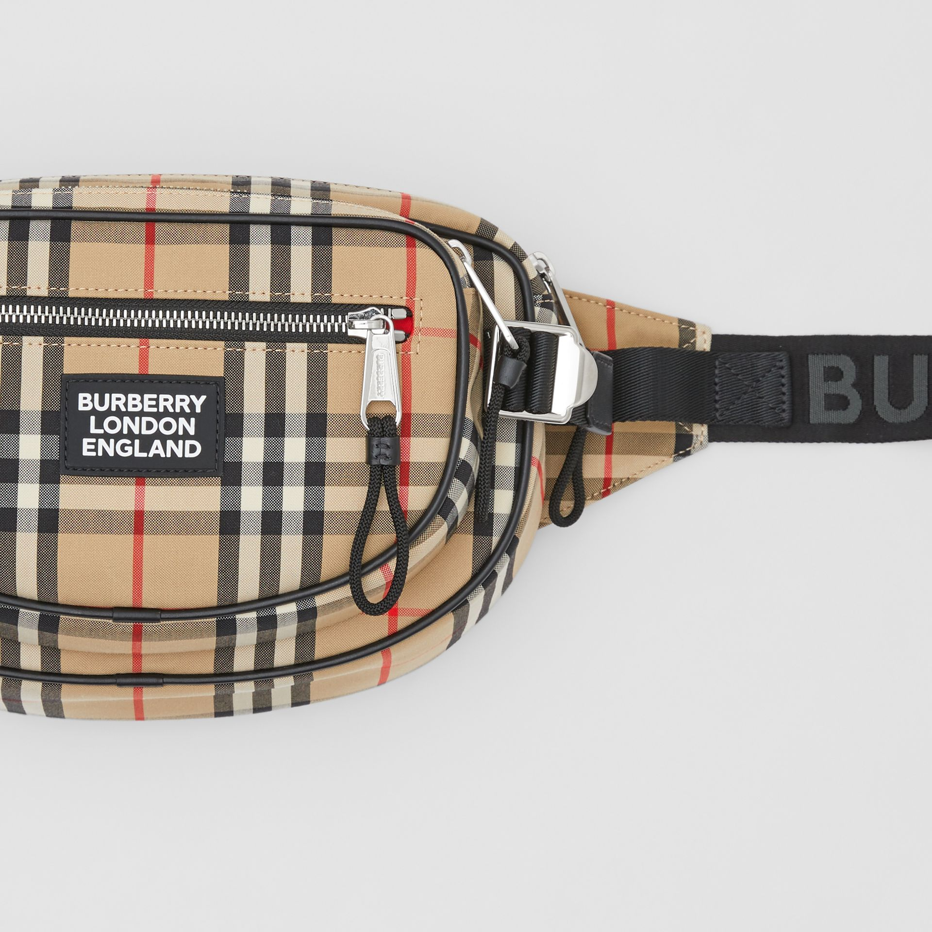 Medium Vintage Check Cotton Cannon Bum Bag in Archive Beige - Men | Burberry - gallery image 1