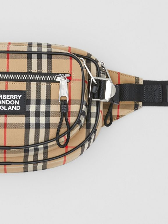 Medium Vintage Check Cotton Cannon Bum Bag in Archive Beige - Men | Burberry - cell image 1