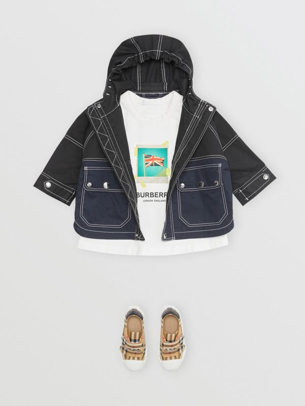 Topstitched Cotton Hooded Jacket in Black - Children | Burberry - cell image 2