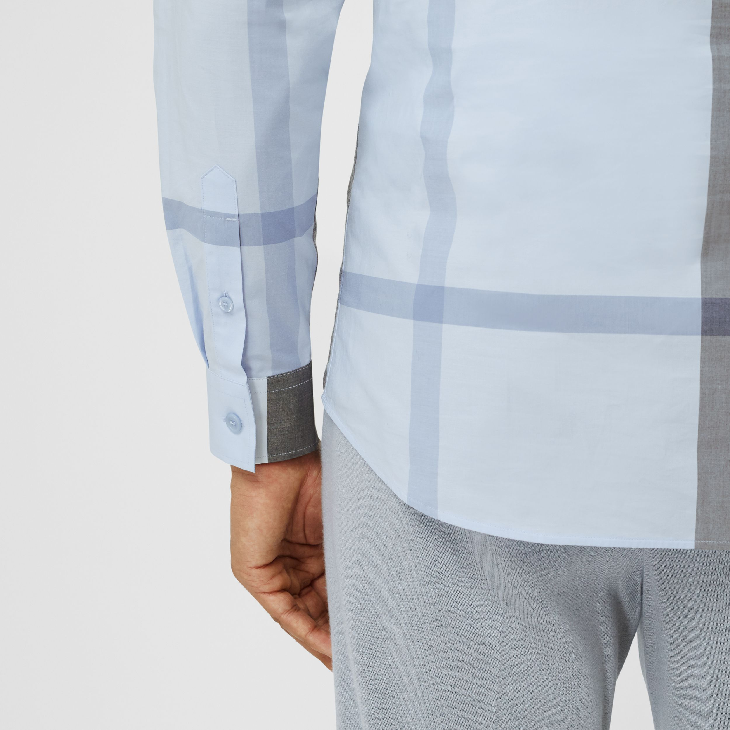 Check Stretch Cotton Poplin Shirt in Chalk Blue - Men | Burberry - 2