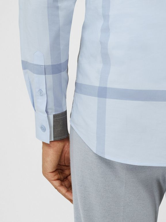 Check Stretch Cotton Poplin Shirt in Chalk Blue - Men | Burberry United Kingdom - cell image 1