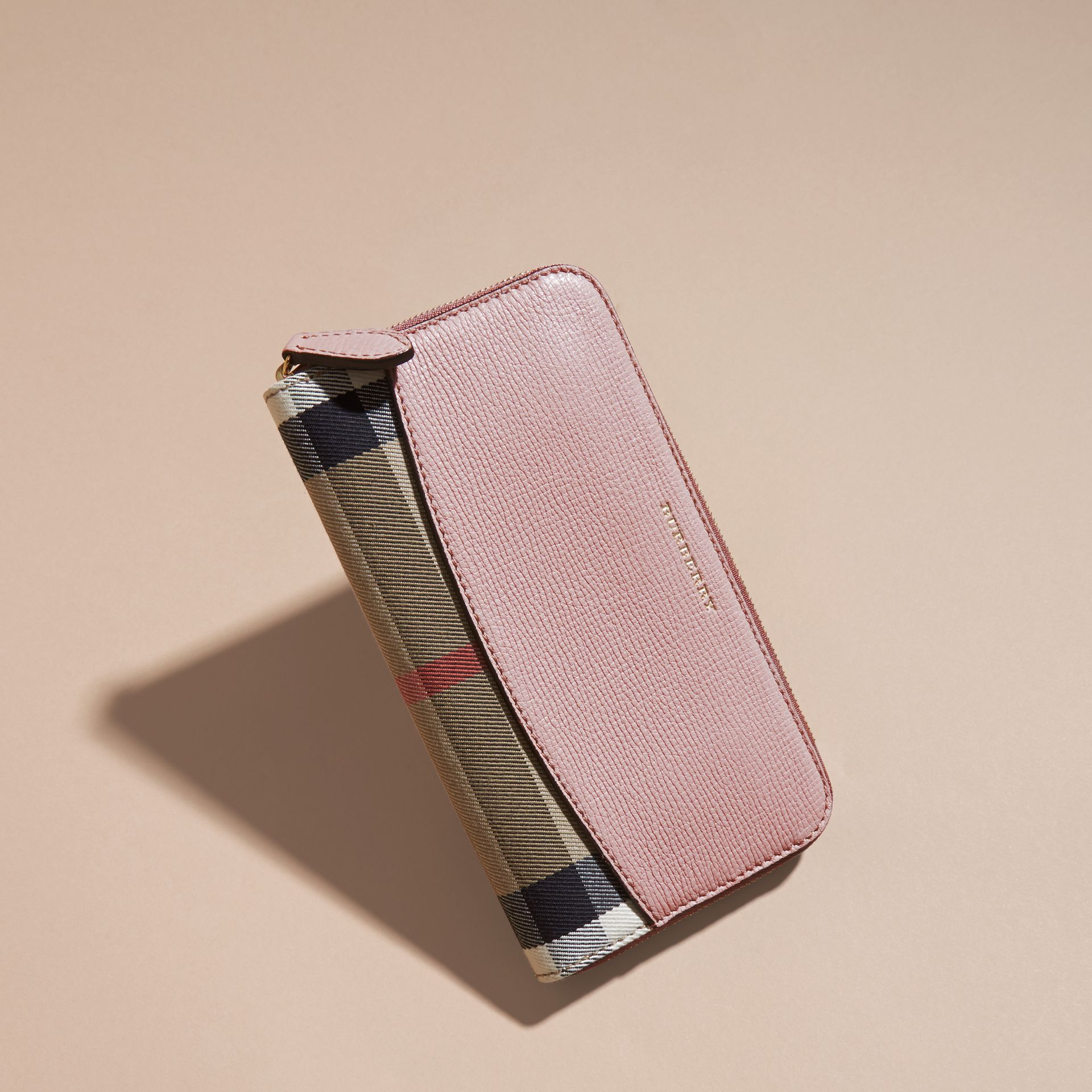 House Check and Leather Ziparound Wallet Pale Orchid - gallery image 6
