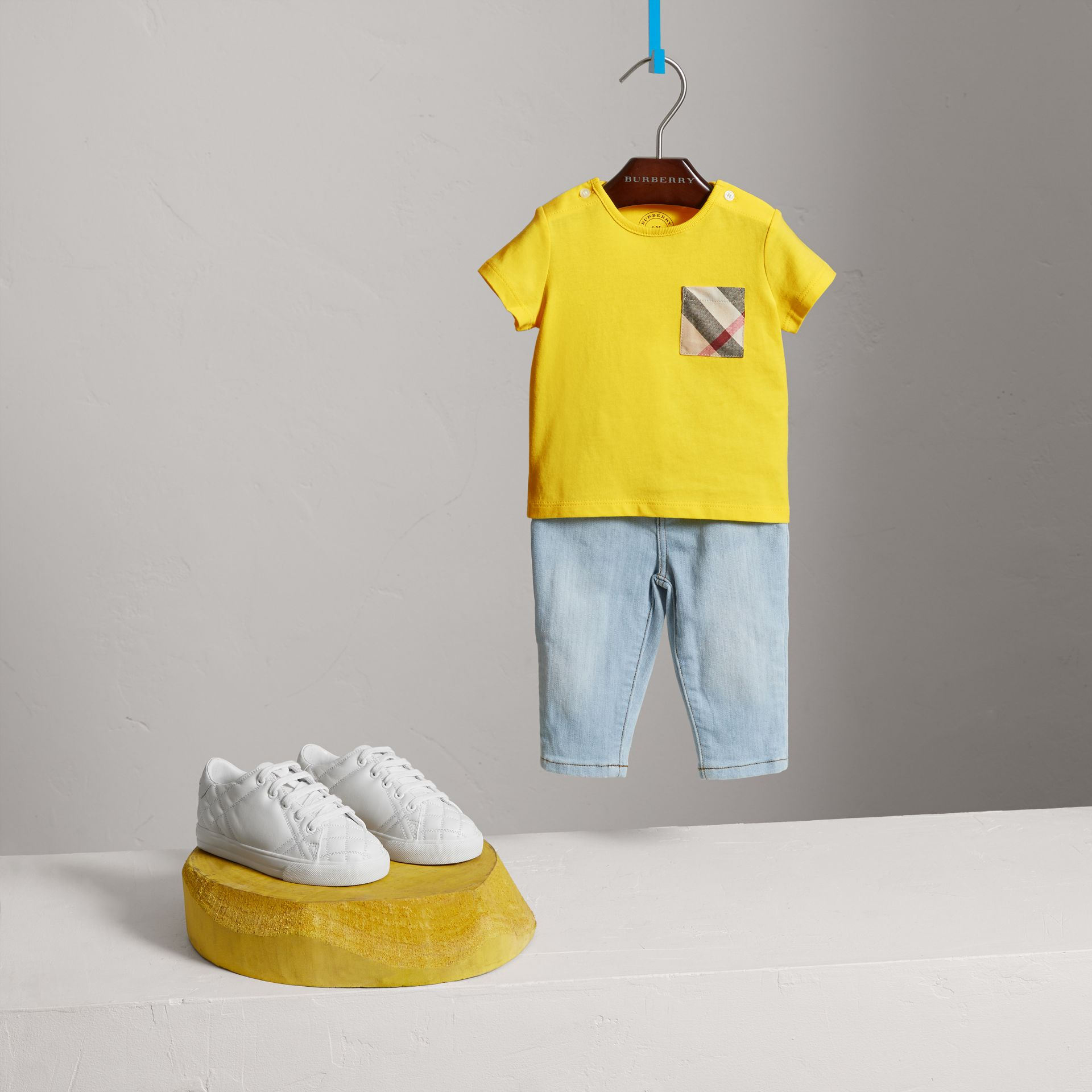 Check Pocket Cotton T-shirt in Bright Citrus Yellow | Burberry Australia - gallery image 2