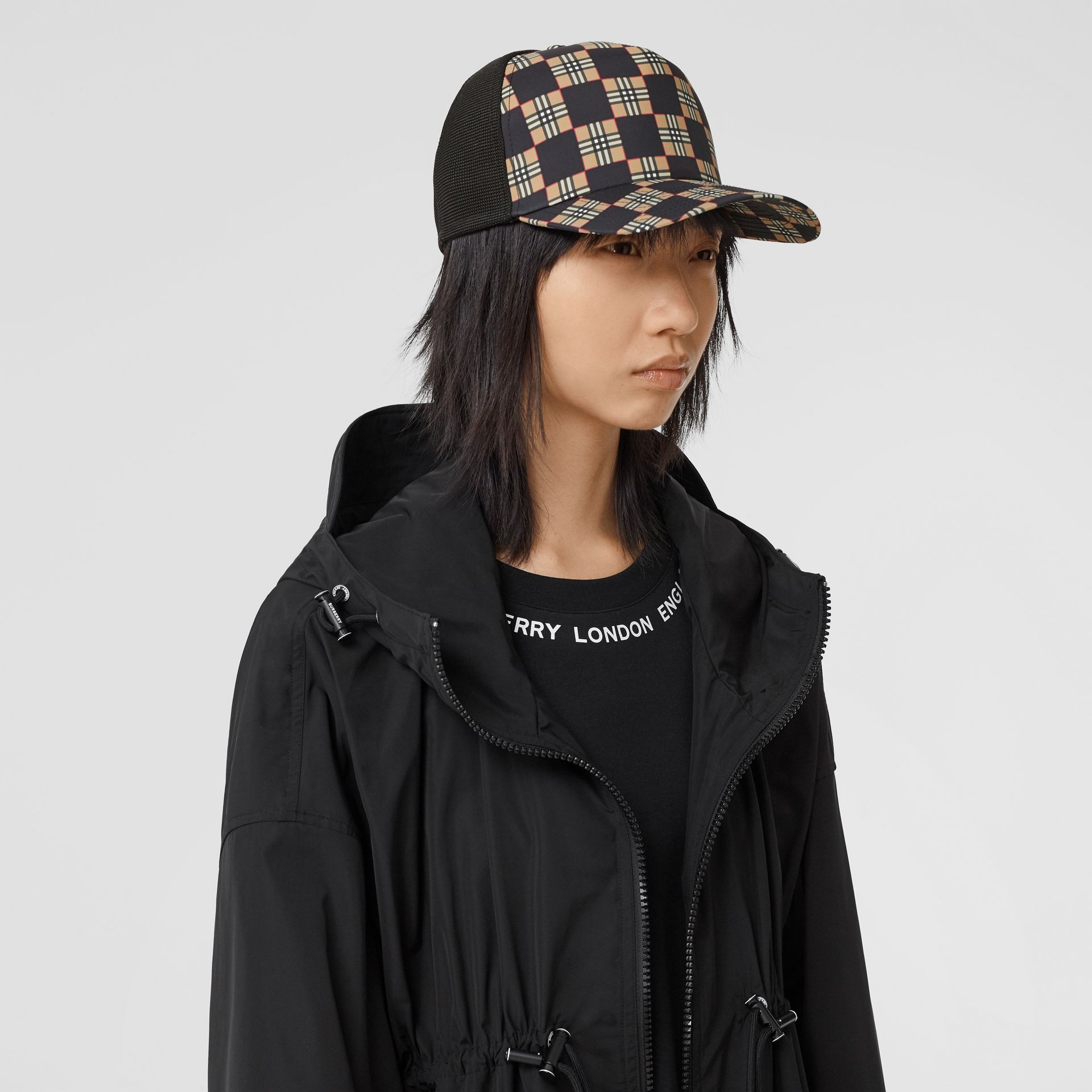 Chequer ECONYL® and Mesh Baseball Cap in Black/archive Beige | Burberry United Kingdom - gallery image 2