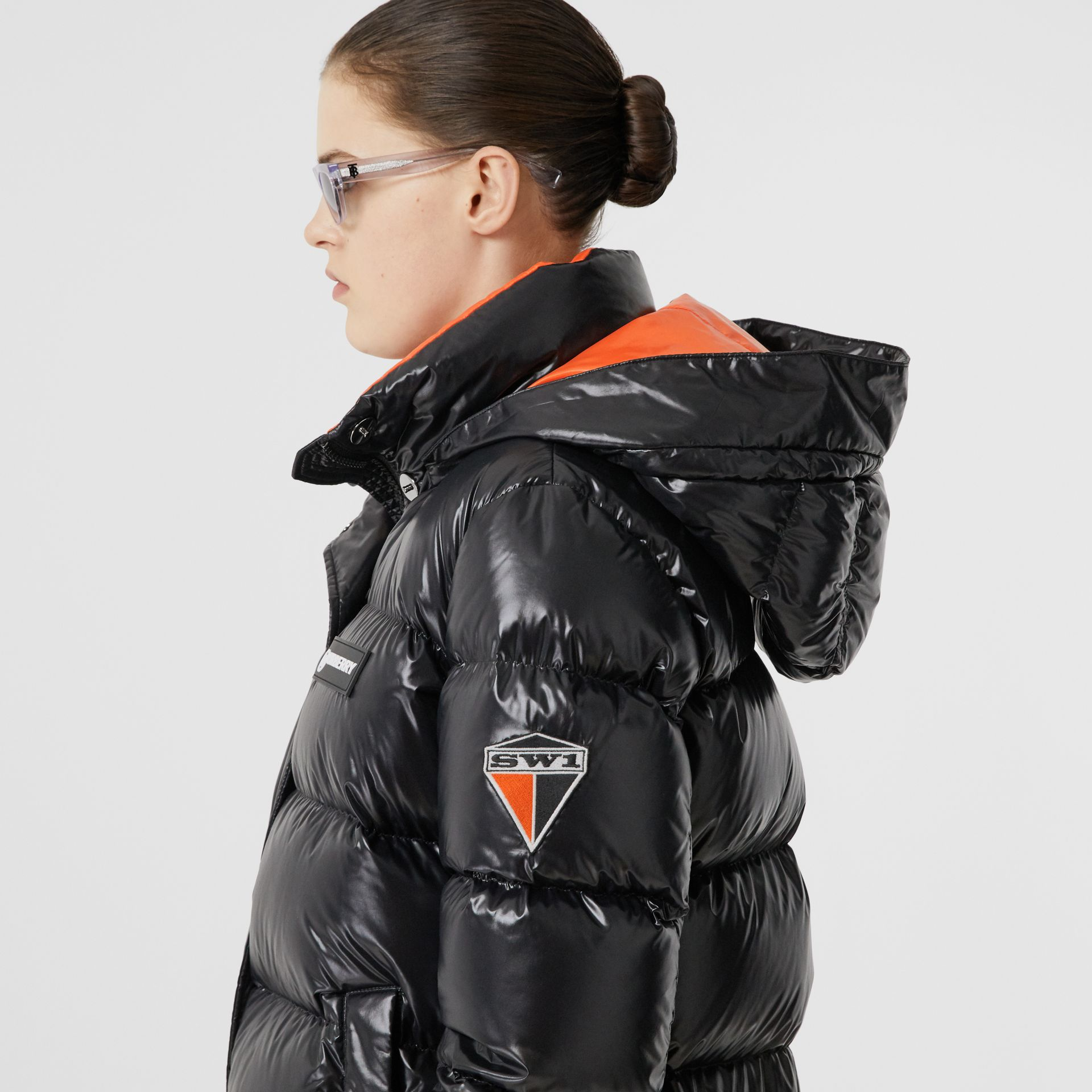 Detachable Hood Logo Graphic Puffer Jacket in Black - Women | Burberry United Kingdom - gallery image 1