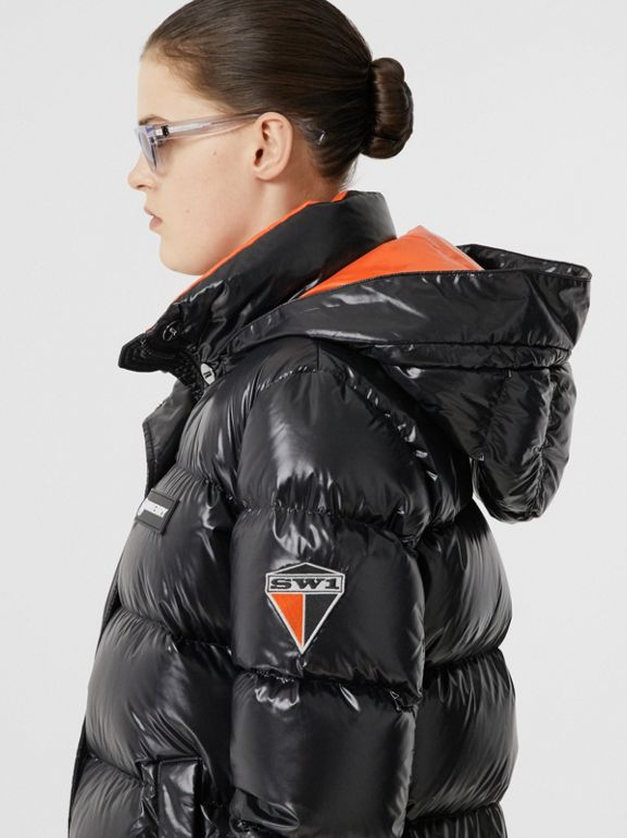 Detachable Hood Logo Graphic Puffer Jacket in Black - Women | Burberry United Kingdom - cell image 1