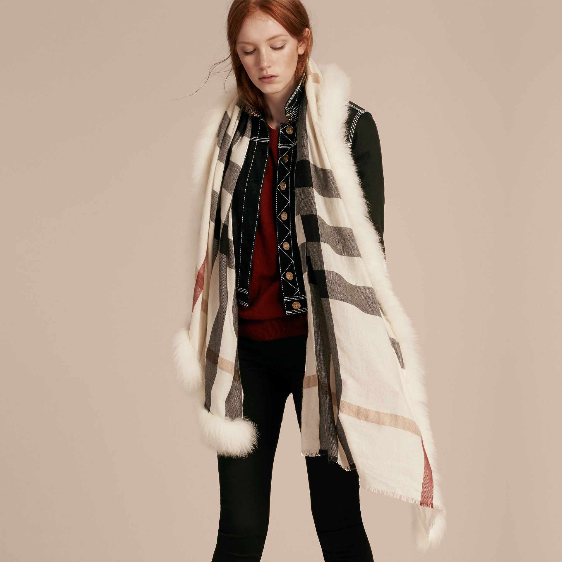 Ivory check Fur Trim Cashmere Check Scarf Ivory - gallery image 3