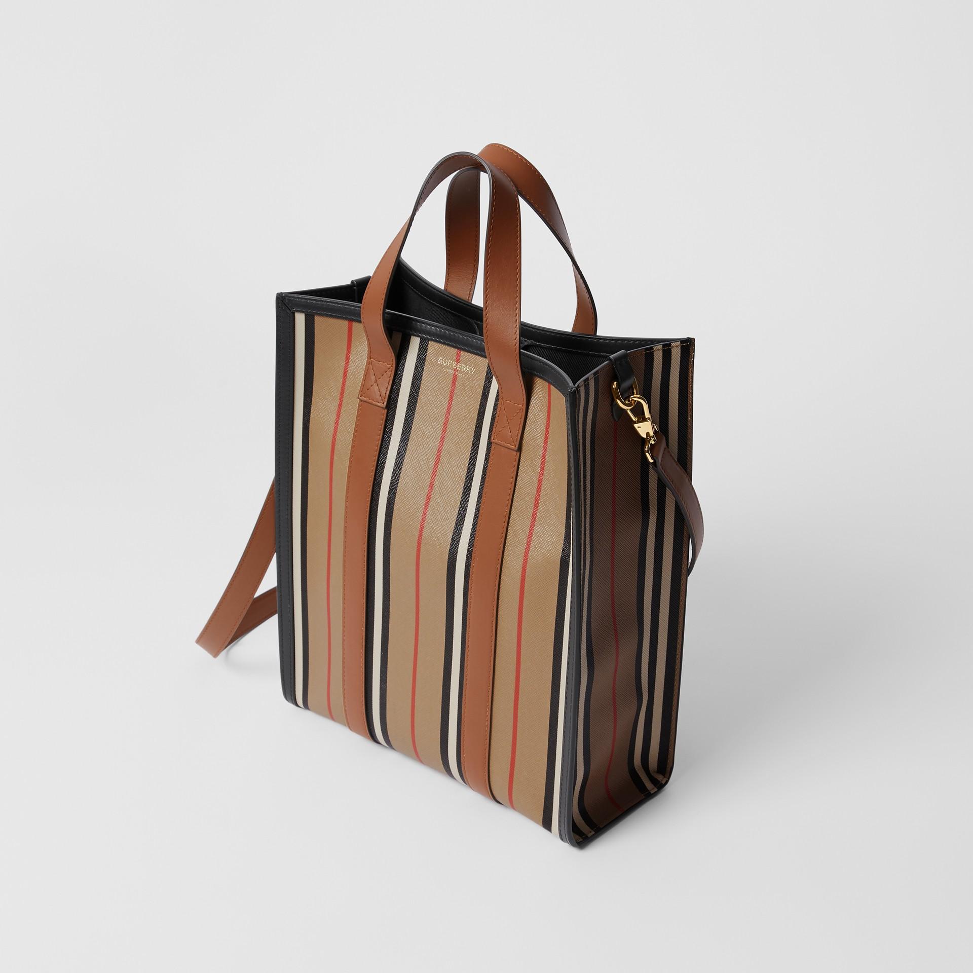 Small Icon Stripe E-canvas Portrait Tote Bag in Archive Beige - Women | Burberry United Kingdom - gallery image 2