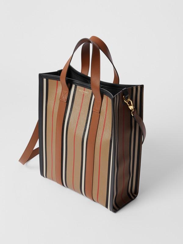 Small Icon Stripe E-canvas Portrait Tote Bag in Archive Beige - Women | Burberry United Kingdom - cell image 2