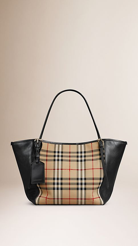 Honey/black The Small Canter in Horseferry Check and Leather - Image 1