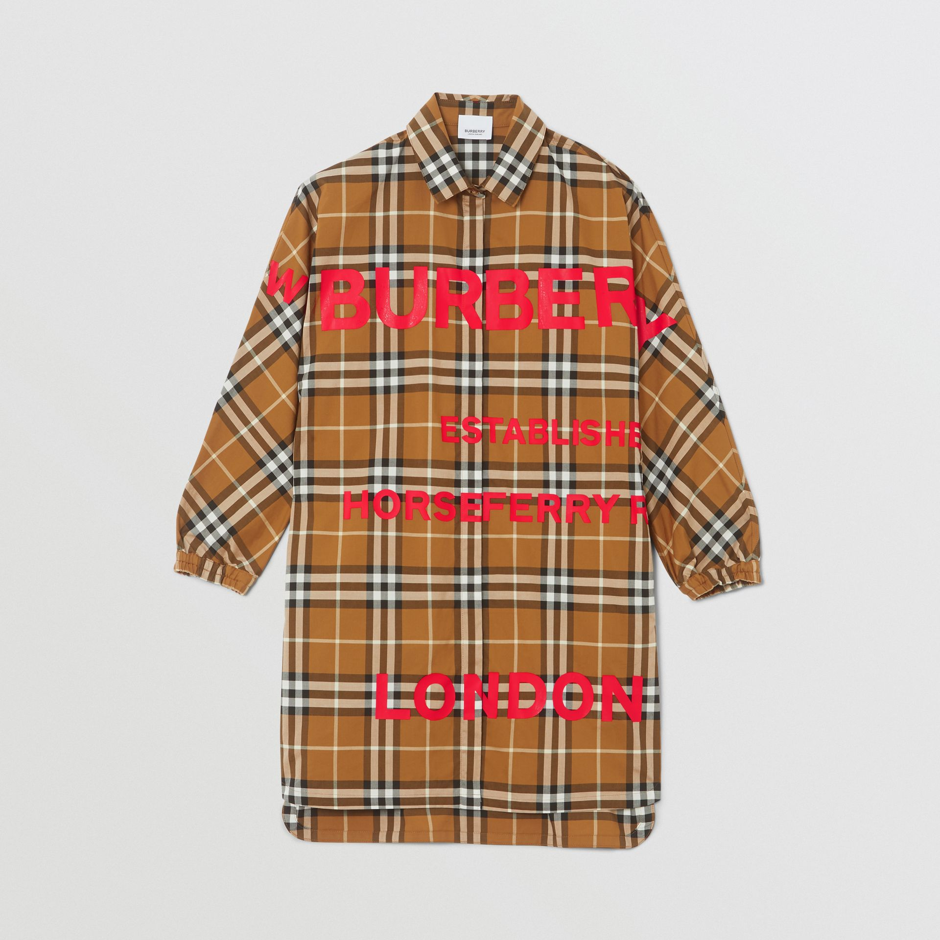 Horseferry Print Check Cotton Shirt Dress in Warm Walnut | Burberry United Kingdom - gallery image 0