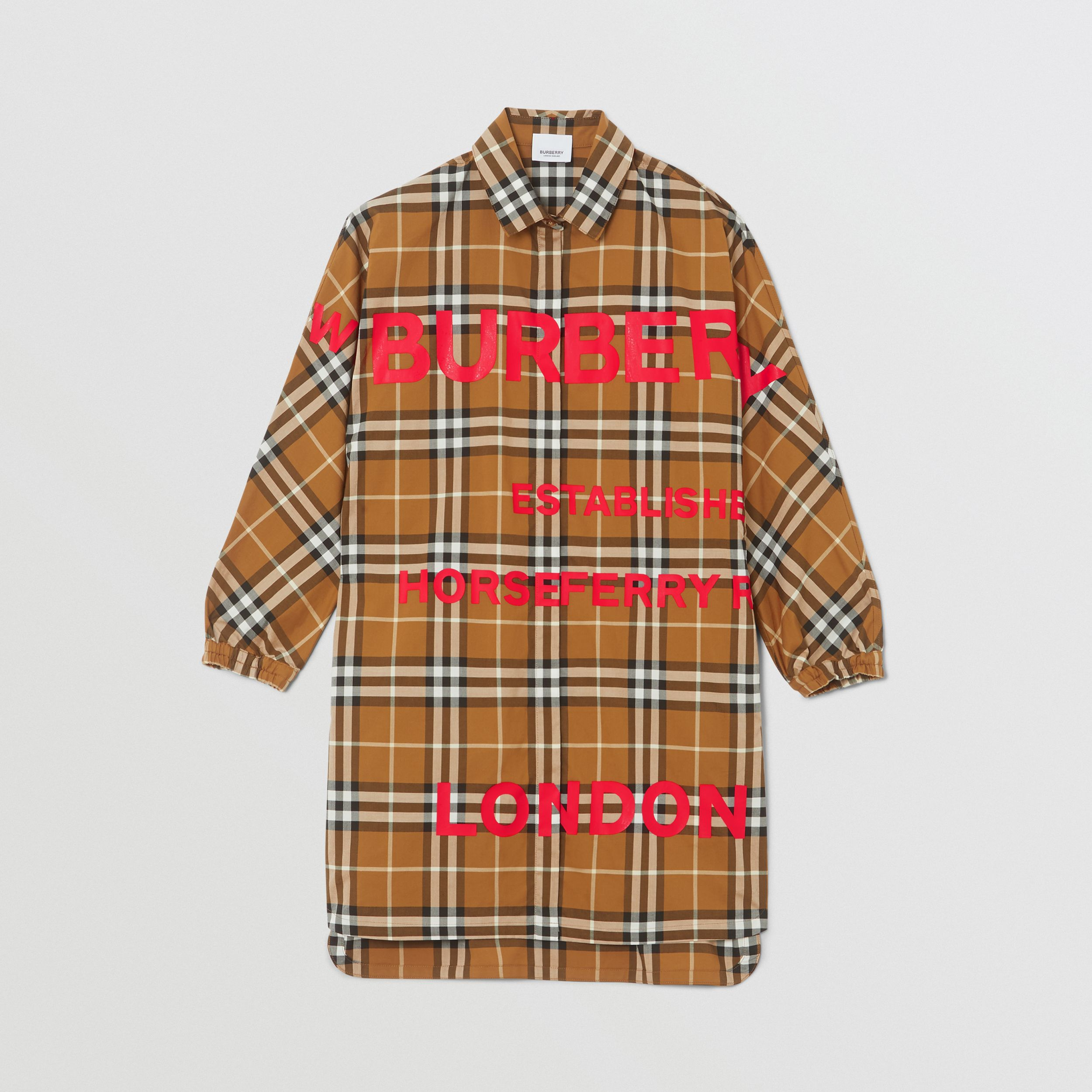 Horseferry Print Check Cotton Shirt Dress in Warm Walnut | Burberry - 1