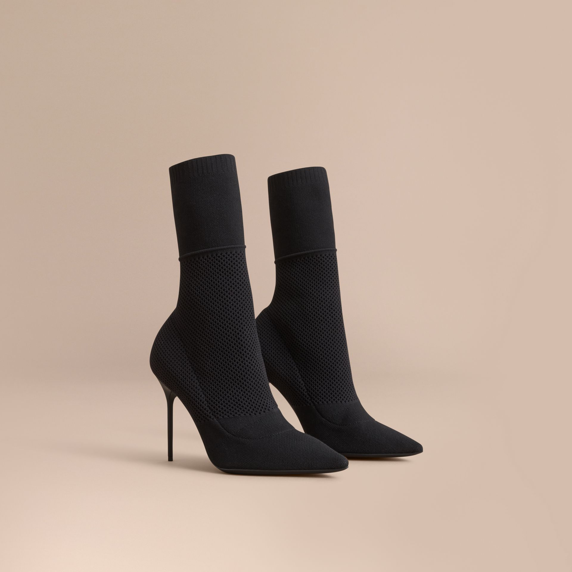 Bottes mi-mollet en maille filet (Noir) - Femme | Burberry - photo de la galerie 1