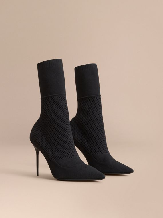 Mid-calf Knitted Mesh Boots in Black