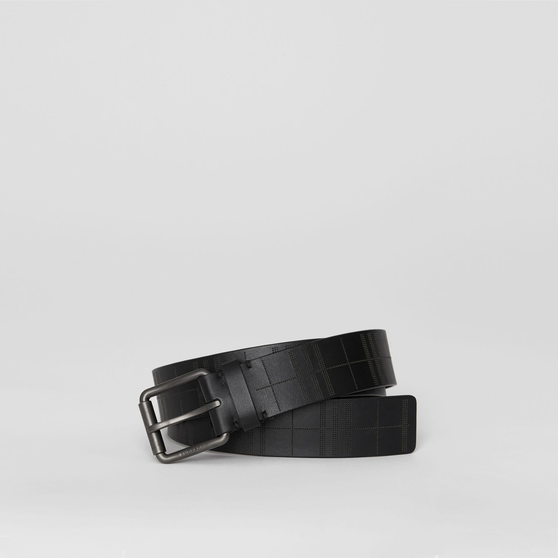 Perforated Check Leather Belt in Black - Men | Burberry - gallery image 0