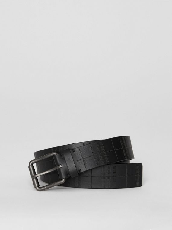 Perforated Check Leather Belt in Black