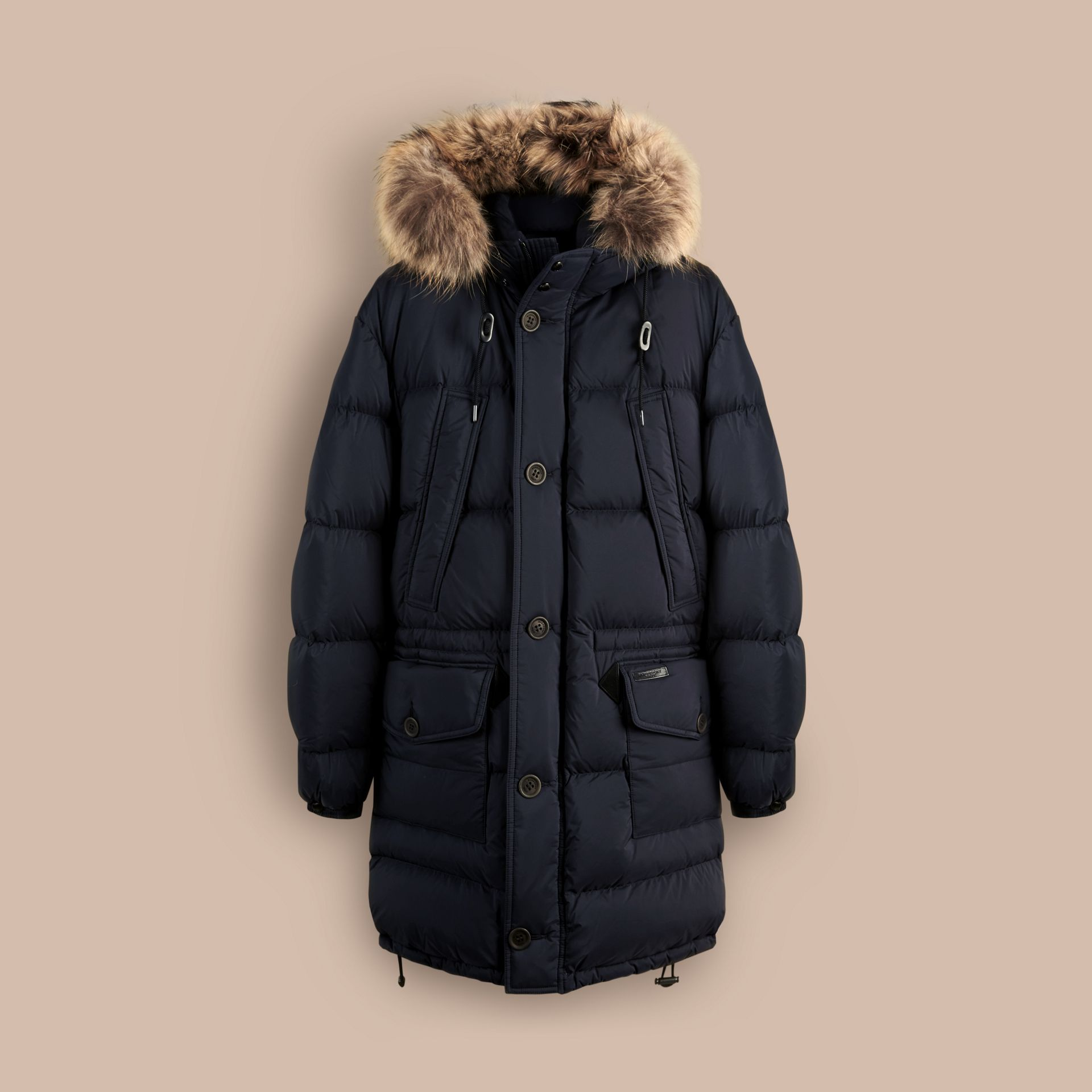 Navy Fur Trim Down-Filled Parka - gallery image 3